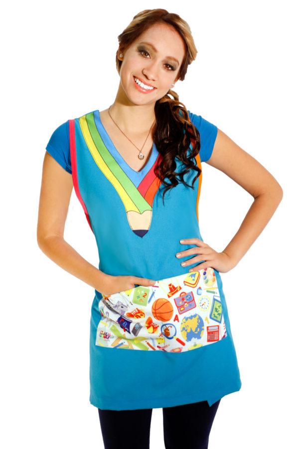 imagen de bata para maestra de preescolar azul cielo
