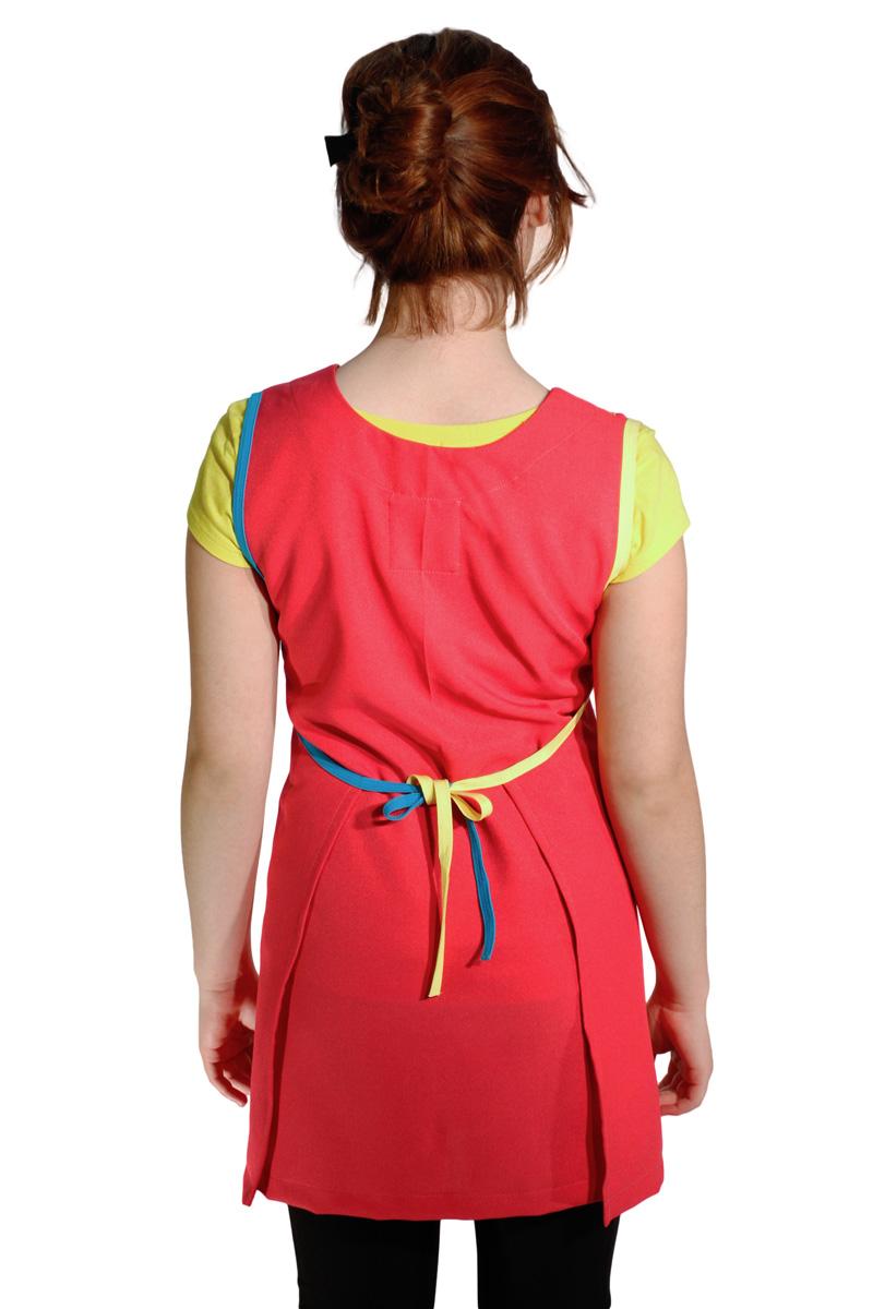 imagen de batas para maestra de preescolar rosa fiusha espalda