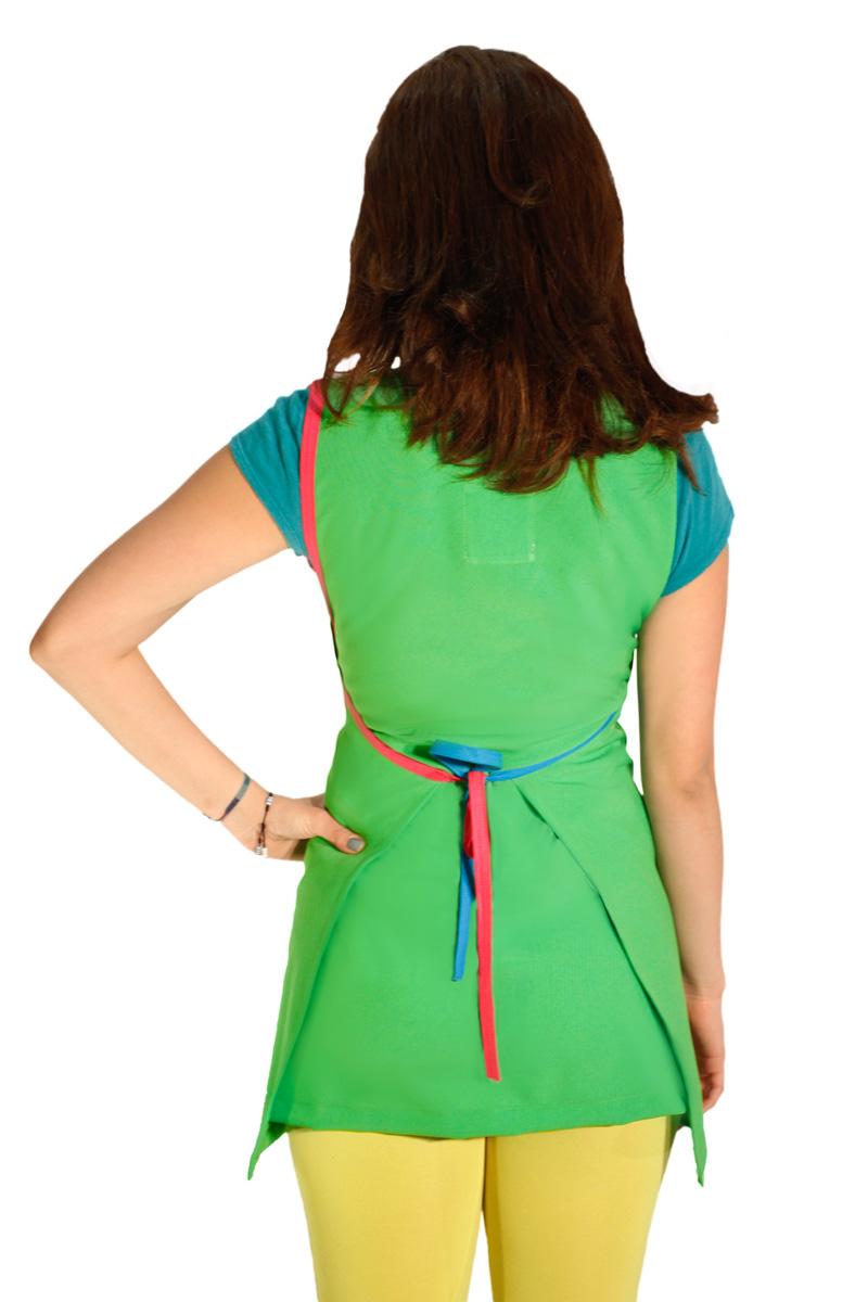 imagen de batas para maestra de preescolar verde espalda