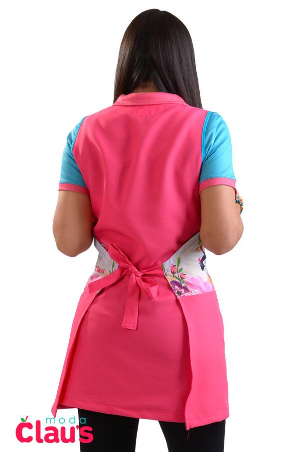 Espalda de mandil para educadora rosa