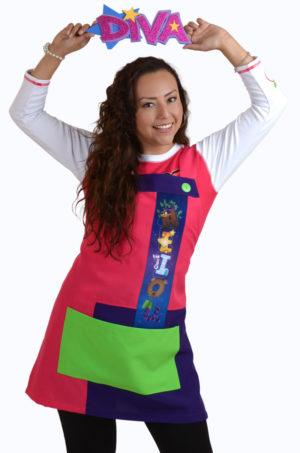delantal para educadora o maestra moda claus