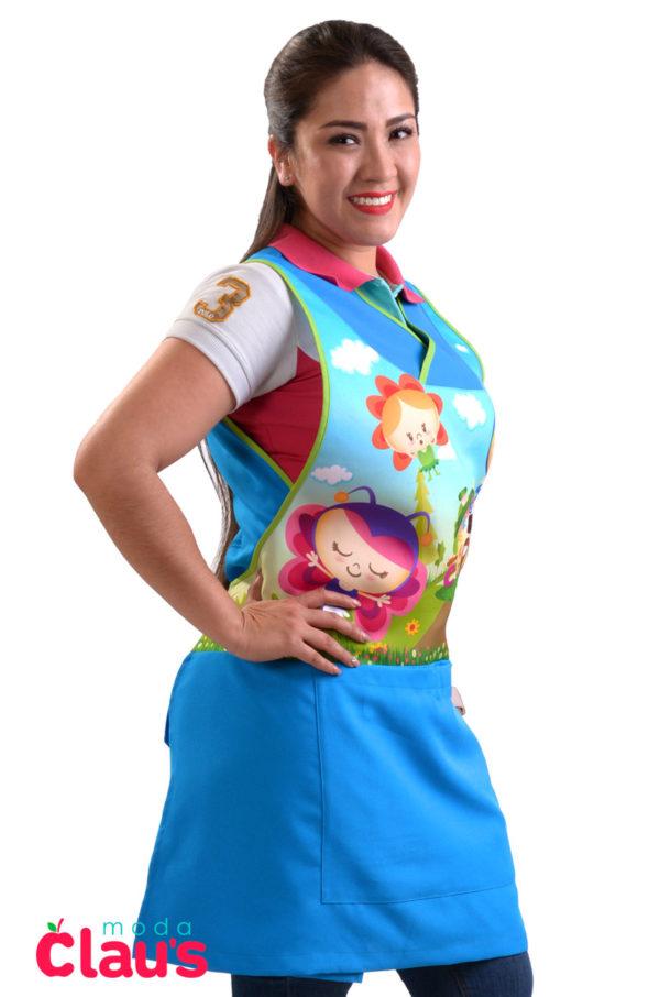 modelos de uniformes para maestras de preescolar en color azul cielo