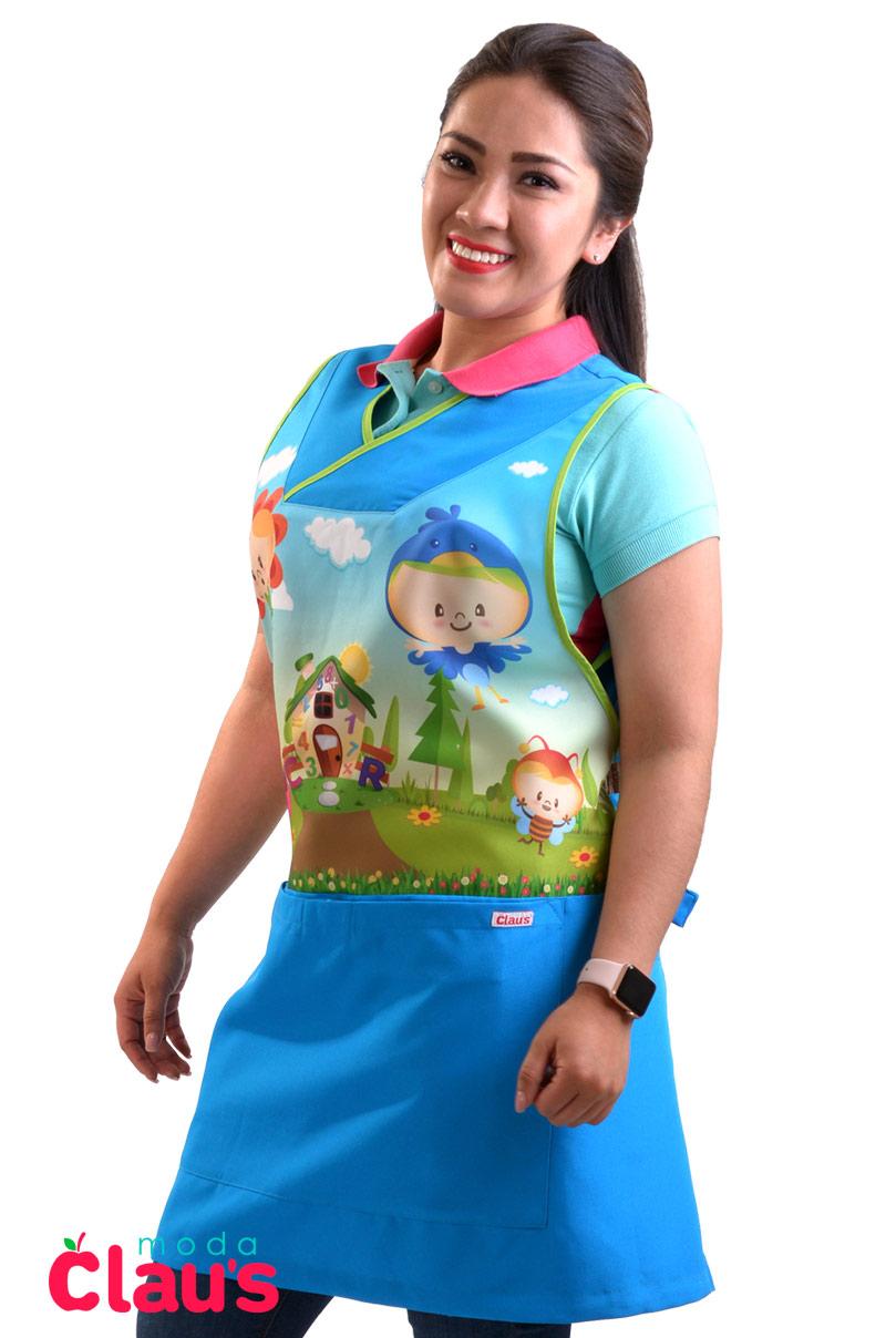 uniformes para maestras de preescolar color azul frente