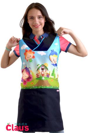 bellos uniformes para maestra de preescolar en color azul marino