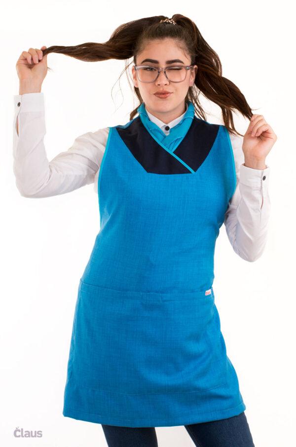 Mandil para maestra de Primaria azul cielo
