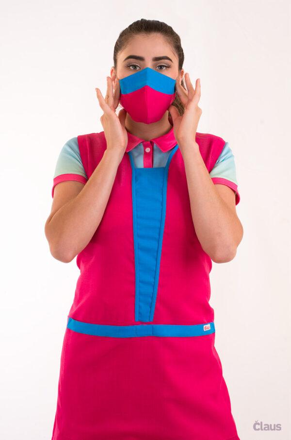 Mandil para Maestra en color Rosa con vivos en Azul y Cubrebocas Lavable
