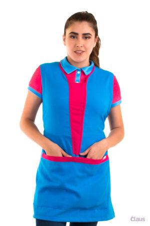 Mandil para Maestra en color Azul Cielo con vivos en Rosa y Cubrebocas lavable