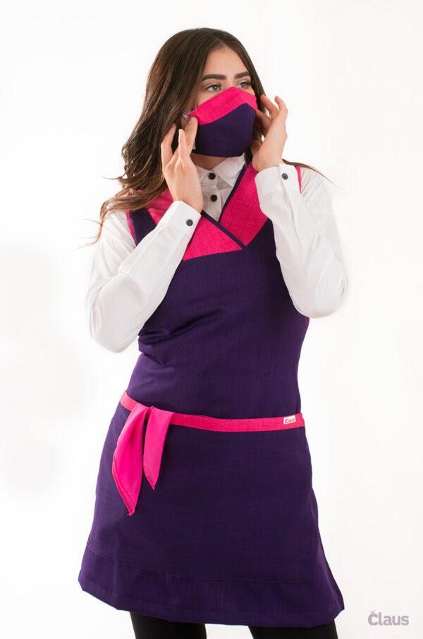 Mandil para Maestra en color Morado y cubrebocas lavable
