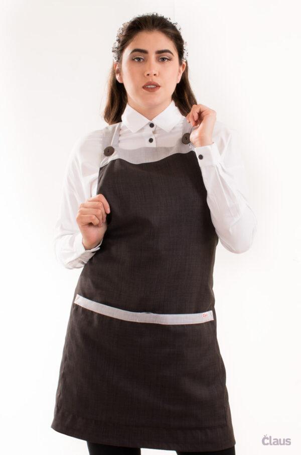 Mandil para Maestra en color negro con cubrebocas lavable