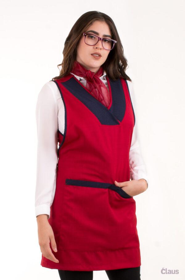 Mandil para Maestra en color Rojo 1