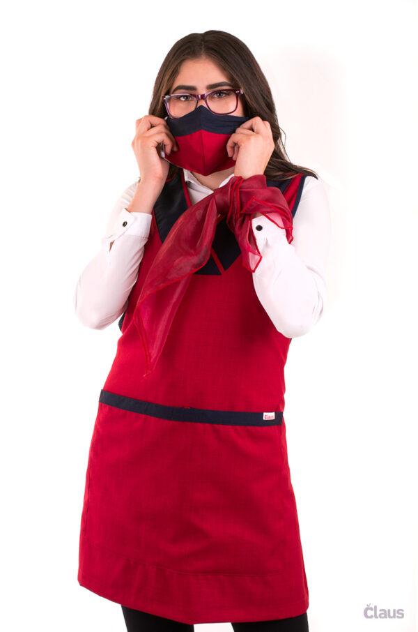 Mandil para Maestra con cubrebocas Color Rojo y Azul