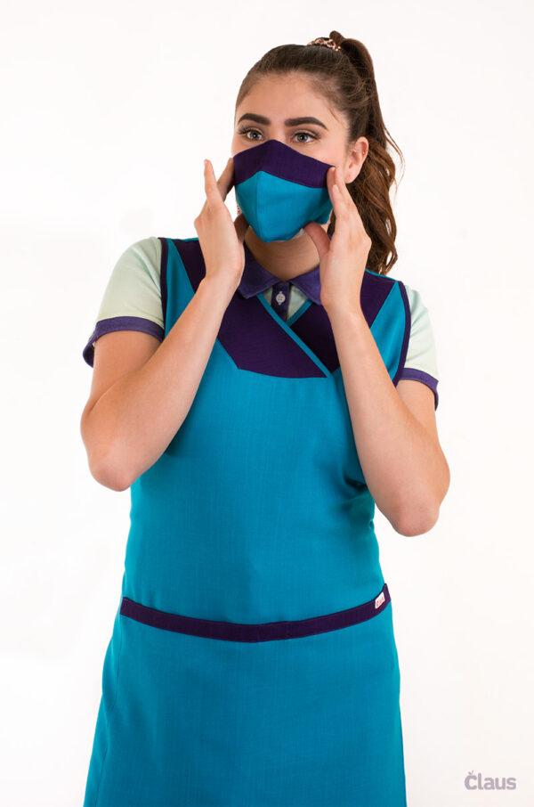 Mandil para Maestra en color Azul Turquesa con Vivos en Morado